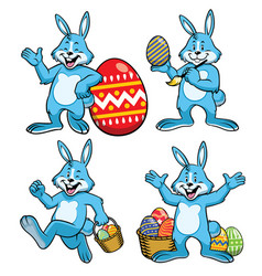 easter bunny set in cartoon style vector image