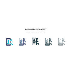 ecommerce strategy icon in different style two vector image