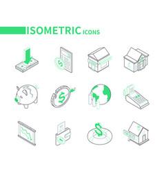 economic crisis - modern line isometric icons set vector image