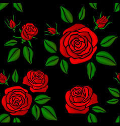 Embroidered red rose flowers vintage vector