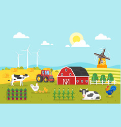 farm with cows and chicken vector image