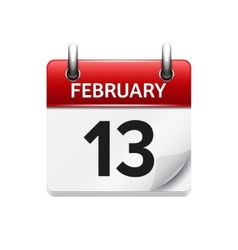 February 13 flat daily calendar icon Date vector