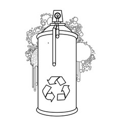 Figure aerosol sprays with recycle symbol icon vector