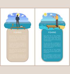 Fishing poster activities set vector