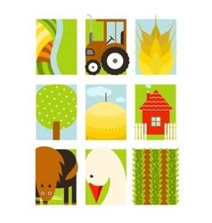 Flat Childish Rectangular Agriculture Farm Set vector