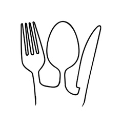 fork knife spoon cutlery icon image vector image