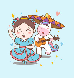 fun girl and unicorn dance mariachi vector image