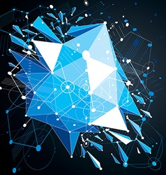 Geometric Bauhaus 3d blue background with low poly vector image