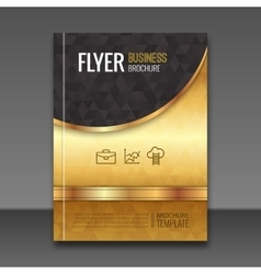 Golden background flyer template Luxury brochure vector