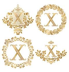 Golden X letter vintage monograms set Heraldic vector image