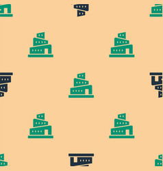 Green and black babel tower bible story icon vector