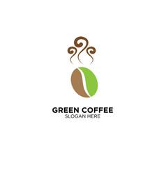 Green coffee logo design vector