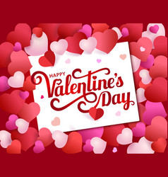 greeting card with lettering happy valentine s day vector image