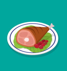 grilled roast leg steak on white plate with salad vector image