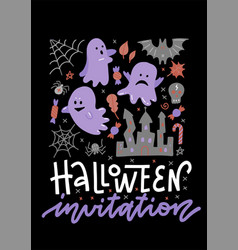 halloween concept invitation banner with ghosts vector image