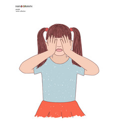 Hand drawn little girl covering vector
