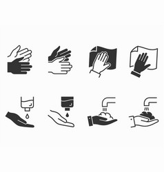 Hand wash icons set black vector