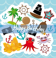 Happy Birthday Card pirate Cute party invitation vector image
