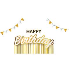Happy birthday celebration party banner golden vector
