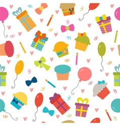 Happy Birthday seamless pattern with hearts vector