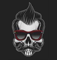 Hipster skull vector