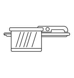 hot saucepan icon outline style vector image