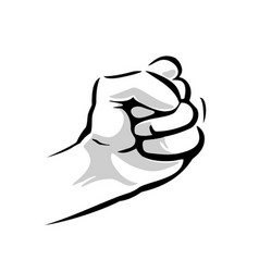 Human hand with a clenched fist black and vector