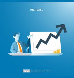 Income salary rate increase concept with people vector
