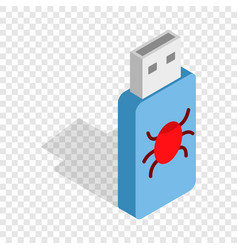Infected usb flash drive isometric icon vector