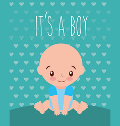 its a boy baby shower invitation card hearts vector image