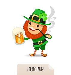 leprechaun with a beer smokes a pipe vector image