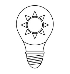 Light bulb with sun inside icon outline vector