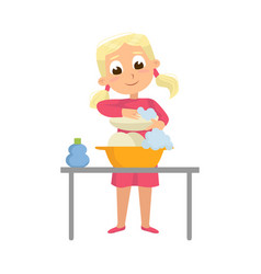 Little big-eyed girl washing dishes with soap vector