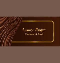Luxury background with chocolate wavy silk vector