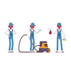 male janitor standing with vacuum cleaner vector image