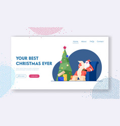 Merry christmas wishes website landing page santa vector
