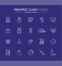 Outline icons set pediatric hospital clinic and vector