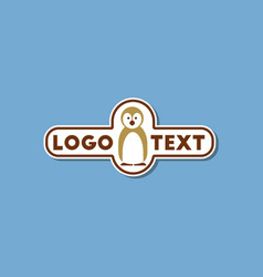 paper sticker on stylish background penguin logo vector image