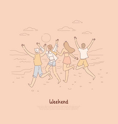 people running into sunset together group of vector image