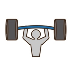 pictogram man barbell weight hard vector image