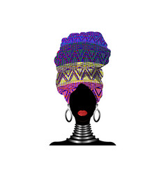 Portrait african woman in traditional turban vector
