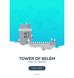 portugal tower of belem time to travel travel vector image