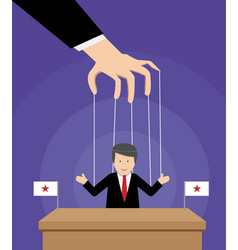 puppeted president on table with flag in vector image