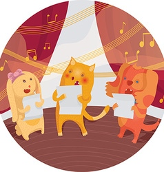 Raster grainy with cat bunny and dog singing in a vector
