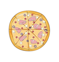 Ready pizza with ham and olives vector