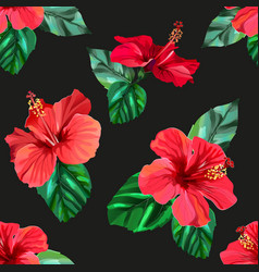 Red hibiscus tropical flowers seamless pattern vector