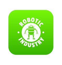 robot machine icon green vector image