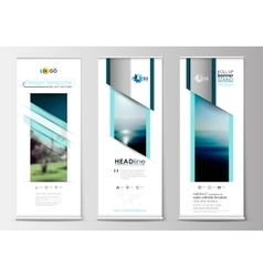 Roll up banner stands flat design abstract vector image