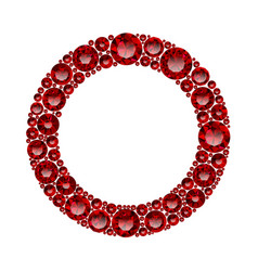 Round frame made of realistic red rubies with vector