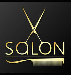 Scissors and comb gold symbol for hairstylist vector